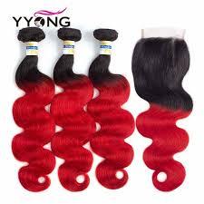 T1b/Red <b>Ombre</b> Brazilian Body Wave 4 <b>Bundles With</b> Closure 4x4 ...