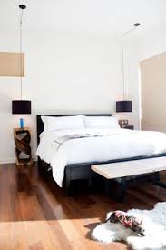 cool idea on the lamps hung from the ceiling bedside lighting