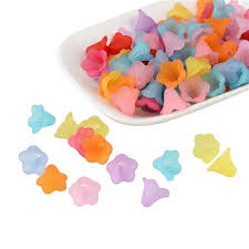 ARRICRAFT <b>100 Pcs Mixed Color</b> Frosted <b>Acrylic</b> Beads, Flower ...
