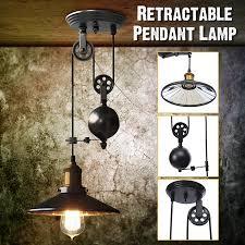Vintage Edison Industrial Chandeliers Retractable <b>Pulley Pendant</b> ...