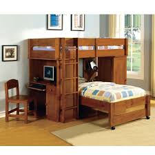teak wood loft bunk bed in brown finished with desk and ladder also small cupboard combined bed and desk combo furniture