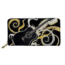 <b>FORUDESIGNS</b> Retro Guitar Music Note Printed <b>Long Wallet</b> ...