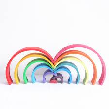 <b>12 Pcs</b>/Lot <b>Wooden Rainbow Blocks Wooden</b> Children <b>Rainbow</b> ...