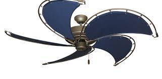 nautical raindance ceiling fan in antique bronze w52 spring frame fabric blades in blue bronze ceiling fan