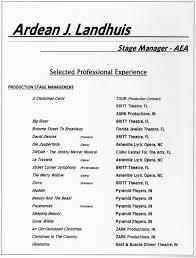 stage management resume` ardean j landhuis performing arts news