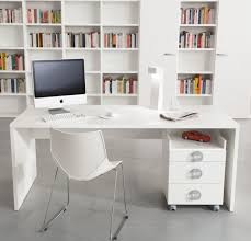 cool white themes small home office with white hardwood computer office table and built in cabinetry for bookcase as well as modern chairs ideas adorable picture small office furniture