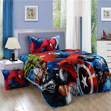 spiderman bedding set spider man kids twin size flannel bed sheet quilt duvet cover bedspread children bedding sets twin kids