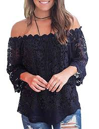 Locryz <b>Women</b> Lace <b>Tops</b> Off Shoulder T <b>Shirts Casual</b> Crochet ...