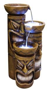 foot palapa tiki wooden umbrella patio pole tiki fountain w led lights  tiki fountain w led lights