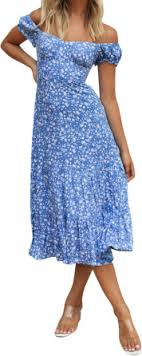 <b>Hirigin Summer</b> Off the Shoulder Floral <b>Printed</b> Midi Pleated Dress ...