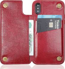 <b>Чехол Brosco Leather</b> Wallet для Apple iPhone X, красный ...