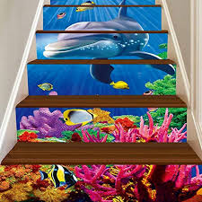 Wingbind Stairs Sticker,<b>3D</b> The Underwater World <b>Starfish</b> Dolphin ...