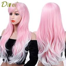 DIFEI 26 Inch Cosplay Wig Synthetic <b>Long</b> Wavy Curly Mix Purple ...