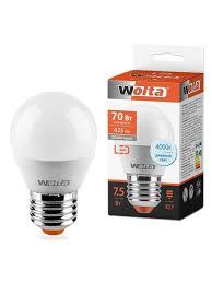 <b>Лампа LED G45</b> 7.5Вт 625лм Е27 4000К Wolta 9675349 в ...