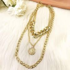 oloey punk style necklace for women retro simple hip hop female multi layer necklaces fashion exaggerated tassel jewelry chains