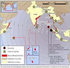 n ocean earthquake triggers deadly tsunami map showing areas affected by the 2004 n ocean tsunami