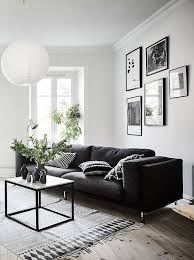 furniture living room wall: living room in black white and gray with nice gallery wall