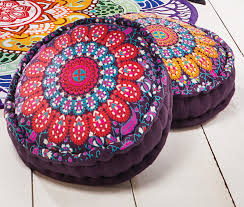 Peacock <b>Print Design</b> Cotton <b>Pouffe</b> 4 Colours Available - Second ...