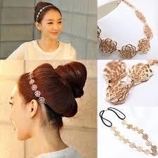 <b>Womens</b> Elegant Chain Jewelry Hollow Rose Flower <b>Elastic</b> Hair ...
