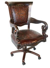 tooled leather western desk chair antique leather office chair