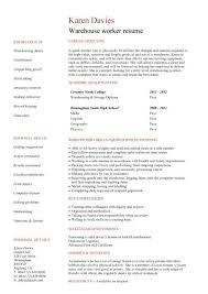 500708 warehouse assistant cv template job description sample stock factory resume examples