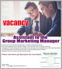 assistant to the group marketing manager eazyjobs assistant to the group marketing manager apply now job description