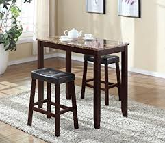 roundhill furniture 3 piece counter height glossy print marble breakfast table with stools breakfast furniture