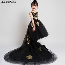 High Low Pageant Dresses for <b>Girls</b> Kids Black <b>Ball Gown Flower</b> ...