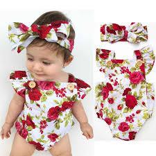 <b>2018 Cute Floral Romper</b> 2pcs Baby Girls Clothes Jumpsuit Romper ...