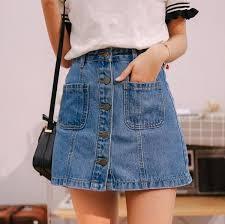 Denim Skirt High Waist A-line Mini Skirts <b>Women 2018 Summer</b> ...