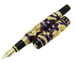 2019 <b>Jinhao Purple Cloisonne Double</b> Dragon Fountain Pen Iridium ...