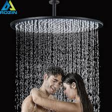 Brushed Nickel 16 inch LED Light Shower Head <b>Rainfall</b> Round Big ...