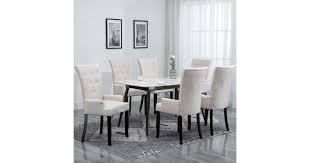 <b>Dining Chairs with Armrests</b> 6 pcs Beige Fabric - Matt Blatt