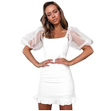 Buy Lavany ❤️ Women Casual <b>Sexy Puff Sleeve</b> Mini Dress ...