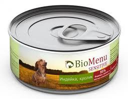 "<b>Консервы</b> для собак ""<b>Bio Menu Sensitive</b>. <b>Индейка</b>, кролик"", 100 г ..."