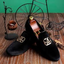 <b>Harpelunde</b> Skull Buckle Party <b>Shoes</b> Mens Black Custom <b>Velvet</b> ...
