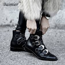 Baimier 2018 Winter <b>Genuine Leather Women Boots</b> Silver Buckle ...