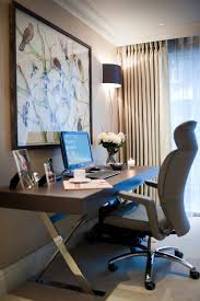 room ergonomic furniture chairs: sophisticated home office with large contemporary desk and ergonomic chair