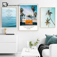 Tropical Sea <b>Palm tree</b> Bus Landscape Wall Art Canvas Poster ...