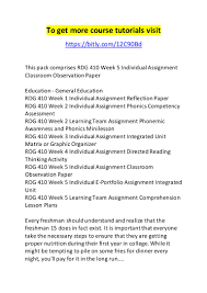 rdg week individual assignment classroom observation paper