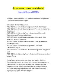 rdg 410 week 5 individual assignment classroom observation paper