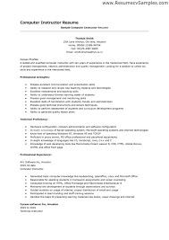 resume examples  skills and abilities for resume exampl  axtran    resume examples  sample computer instructor resume for career profile with professional strength and professional experience
