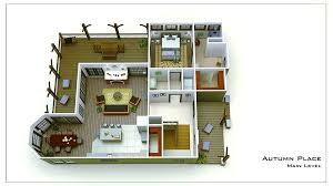 Small Cottage Plan   Walkout Basement   Cottage Floor Plansmall cottage floor plan rendering autum place
