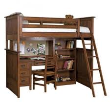 bedroom dark brown stained wooden loft bunk bed with brown wooden armless chair and brown bed desk dresser combo home