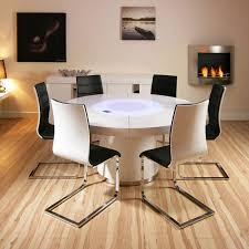 Black And White Kitchen Table Large Round White Gloss Dining Table And Six White Black Dining
