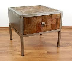 livasia Modern Industrial Design' Bedside <b>Table</b>, <b>Reclaimed Teak</b> ...