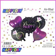 Bachelorette Party Foil Balloon <b>Set 5 pcs</b>: Black & Neon <b>Pink</b> ...