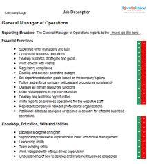 job description for a general manager of operations general manager operations job description