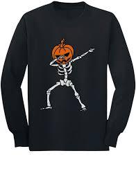 Halloween <b>Dab</b> Jack O' Lantern <b>Dabbing</b> Skeleton Youth Kids Long ...