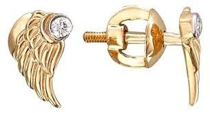 Эстет <b>Серьги Крылья с бриллиантами</b> из красного золота ...